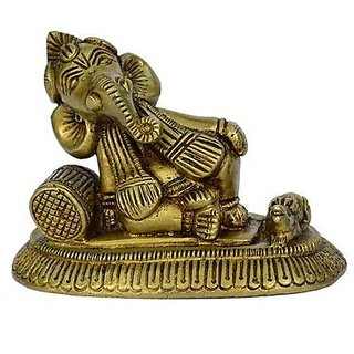 Brass Metal M Medium Side Ganesha Seated And Resting With A Takia In Decorative Fine Art Work By Bharat Haat BH00829