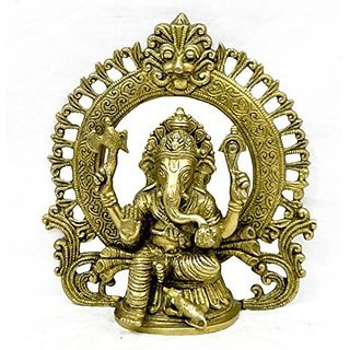 Pure Brass Metal Kaman Ganesh In Fine Finishing And Decorative Art By Bharat Haat BH03937