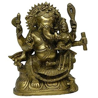 Brass Metal Ganesh Laxmi Sitting In Blessing Position Decorative Art By Bharat Haat BH02643