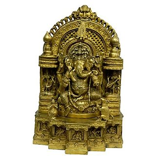 Pure Brass Metal Ganesh In Fine Finishing And Decorative Art By Bharat Haat BH04229