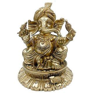 Pure Brass Metal Turban Ganesh Sitting In Fine Finishing Work By Bharat Haat BH04842