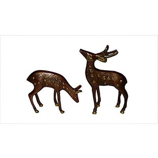 Brass Metal Deer Pair Small In Fine Finishing Work By Bharat Haat BH01166