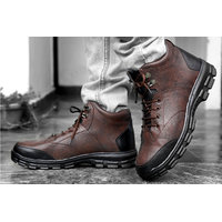 Shoeson Men's Dark Brown Ankle Length Boots