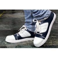 Shoeson Men's Black  White Smart Casual Shoes