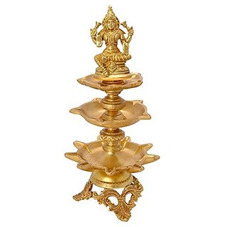 Goddess Laxmi On Three Step Lamp Traditional Decorative Piece By Bharat Haat BH05618