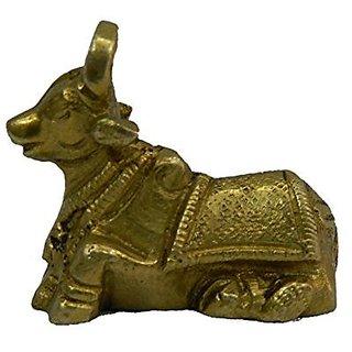 Brass Metal Nandi ( Shivas Vahan) Collectible Statue In Fine Finishing By Bharat Haat BH03668