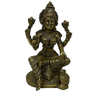 Brass Metal Laxmi Sitting Medium In Size Decorative Art By Bharat Haat BH02681