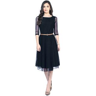 Stylelead Fashion Black Plain A Line Dress Dress For Women