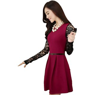 Stylelead Fashion Maroon Floral A Line Dress Dress For Women