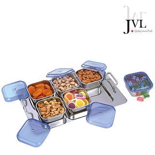 JVL Trendy Store n Serve Set With A Tray (6 Pcs)
