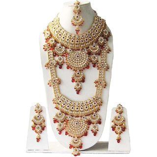 adcfbdf6e14ef Most Beautiful Crystals Gold Plated Kundan Zerconic Complete Bridal  Necklace Jewelry Set