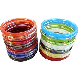 COLORFUL GLASS BANGLE-Size 2.4 (SET OF 24 STACK)