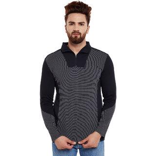 Hypernation Striped, Polo Neck Men's T-Shirt
