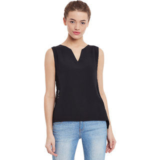 58969a55f8f64 Buy Miss Chase Women s Black Round Neck Sleeveless Basic Embroidered ...