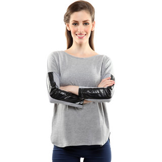 Miss Chase Women's  Round Neck Cap Sleeves Basic Plain Top
