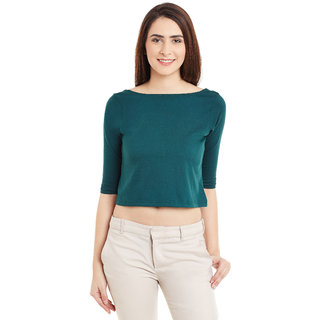 723e94edba7b54 Miss Chase Women s Green Boat Neck Half Sleeves Crop Tops Solid Plain Top