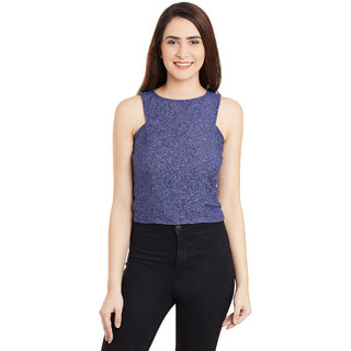 Miss Chase Women's Blue Boat Neck Sleeveless Crop Tops Solid/Plain Top
