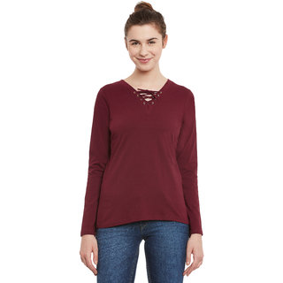 61d00f3631047 Buy Miss Chase Women s Maroon V-Neck 3 4 Sleeve Basic Solid Plain ...