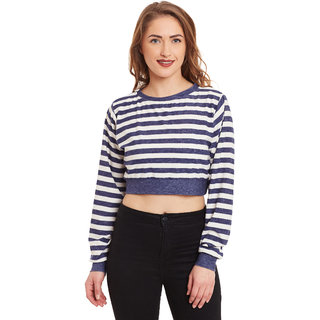 ff0cf43e25b9c0 Buy Miss Chase Women s Blue Boat Neck Full Sleeves Crop Tops Striped ...