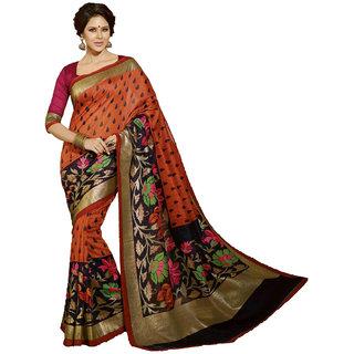 Yuvanika Orange Bhagalpuri Silk Printed Saree With Blouse