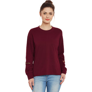 87c79fdc11451 Miss Chase Women s Maroon Round Neck Full Sleeves Basic Solid Plain Top