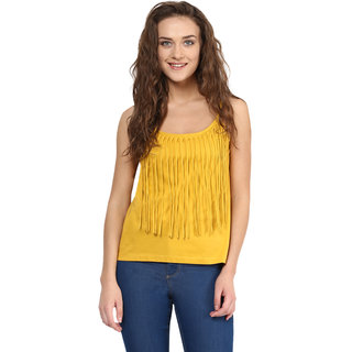 Miss Chase Women's Yellow Round Neck Sleeveless Tank Tops Solid/Plain Top
