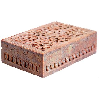 Marble Jewelry Box Natural Stone Floral Hand Carved Wedding Gifts
