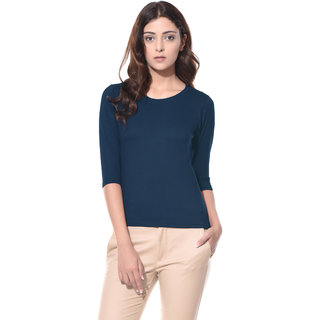 Miss Chase Women's Navy Round Neck 3/4th Sleeves Basic Plain Top