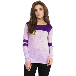 95efa2e66eb55 Miss Chase Women s Purple Round Neck Full Sleeves Basic Solid Plain Top
