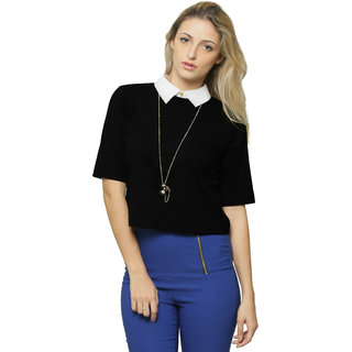 0290e5ebd1f33 Miss Chase Women s Black Shirt Collar 3 4th Sleeves Crop Tops Solid Plain  Top