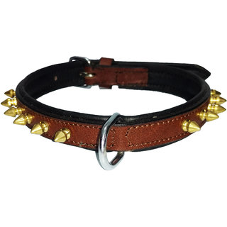 Petshop7 - Export Quality Genuine Leather Dog Collar with Spiked 0.75 in - Small -Brown