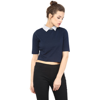 f6a150559593e4 Buy Miss Chase Women s Navy Round Neck Half Sleeves Crop Tops Plain ...