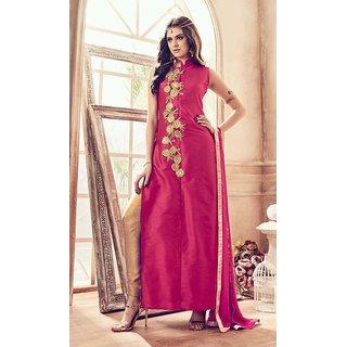 d8d2c6c485 Vaikunth Fabrics Pink Colour Banglori Silk Embroiderd Semi-Stitched Party  Wear Salwar Suit
