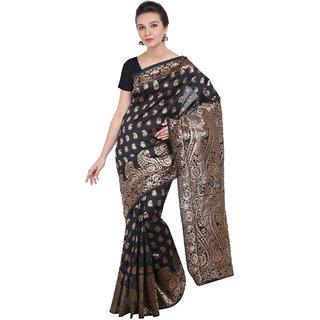 Ajira Black Art Silk Self Design Saree With Blouse
