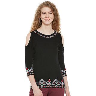 87eb5e16beaf7c Buy Hypernation Embroidered Women s Round Neck Cold Shoulder Black T-Shirt  Online - Get 9% Off