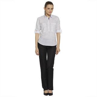 Bombay High Women White Standard Slim Fit Printed Casual Shirt