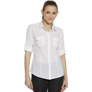 84871f41df Buy Bombay High Women White Slim Fit Solid Casual Shirt Online @ ₹1199 from  ShopClues