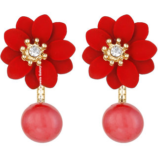 Jewels Galaxy Exclusive AD Floral Design Red Earrings For Women/Girls