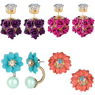 Jewels Galaxy Exclusive Glamorous Floral Designer Limited Edition Crystal Earrings - Combo of 4