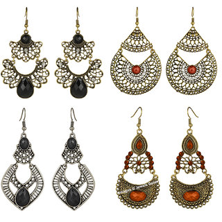 Jewels Galaxy Exclusive Antique Design Multicolor Limited Edition Fashionable Chandelier Earrings For Women/Girls - Combo of 4