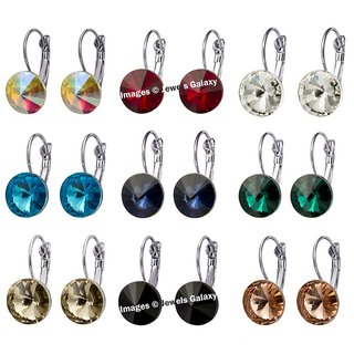 Jewels Galaxy Exclusive Designer Crystal Clip-On Earrings Collection - Combo of 9
