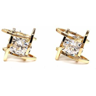 Jewels Galaxy Luxuria Gold Plated Top Quality American Diamond Clip-on Earrings