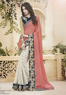 Indus Beige & Blue Georgette Printed Saree With Blouse