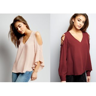 41de612b75eee Buy Combo Of 2 Pink And Burgundy Cold Shoulder Top Online - Get 37% Off