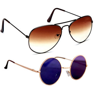 48f650627da Combo of Sunglasses With Brown Aviator and vintage Gandhi Style in Multi  Color Shade