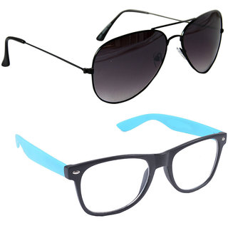 6bfba26f497 Combo of Sunglasses With Black Aviator and Transparent Wayfarer Style in  Ferozi