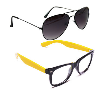 Combo of Sunglasses With Black Aviator and Transparent Wayfarer Style in Yellow