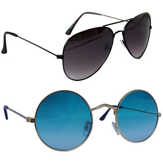 e86e6c8ba49 Buy Combo of Sunglasses With Black Aviator and vintage Gandhi Style in  Ferozi Shade Online - Get 85% Off