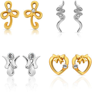 Mahi Gold  Rhodium Plated Combo Of Four Small Stud Earrings With Crystals For Women CO1104626M