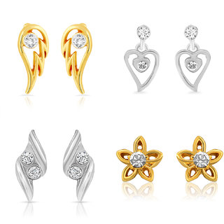 Mahi Gold  Rhodium Plated Combo Of Four Small Stud Earrings With Crystals For Women CO1104627M